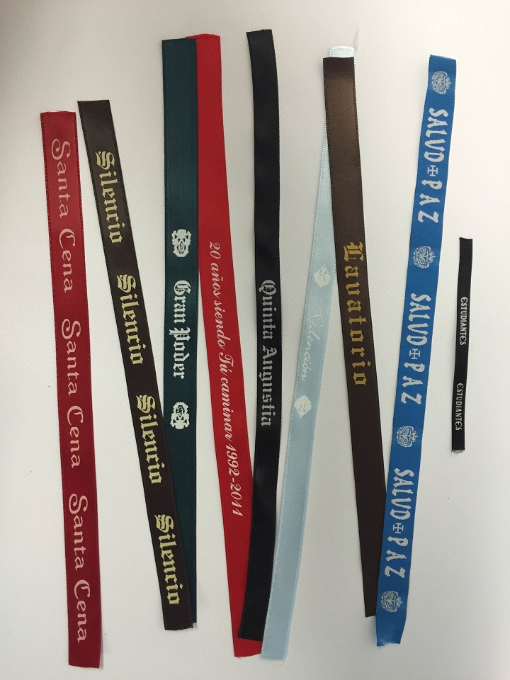   pulseras en cinta de raso serigrafiadas para distintas cofradías